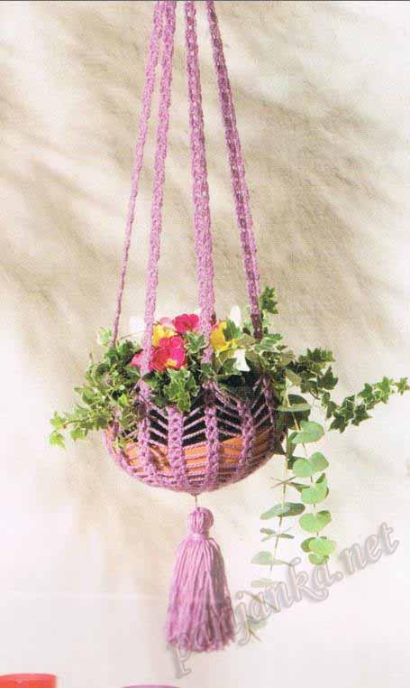 Подвесные кашпо для цветов вязание крючком