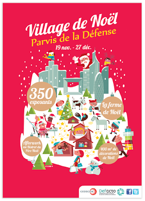 Clod illustration village de Noël 2015 de Paris, La Défense