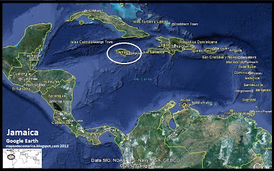Mapa de Jamaica en Centroamérica y El Caribe, Google Earth