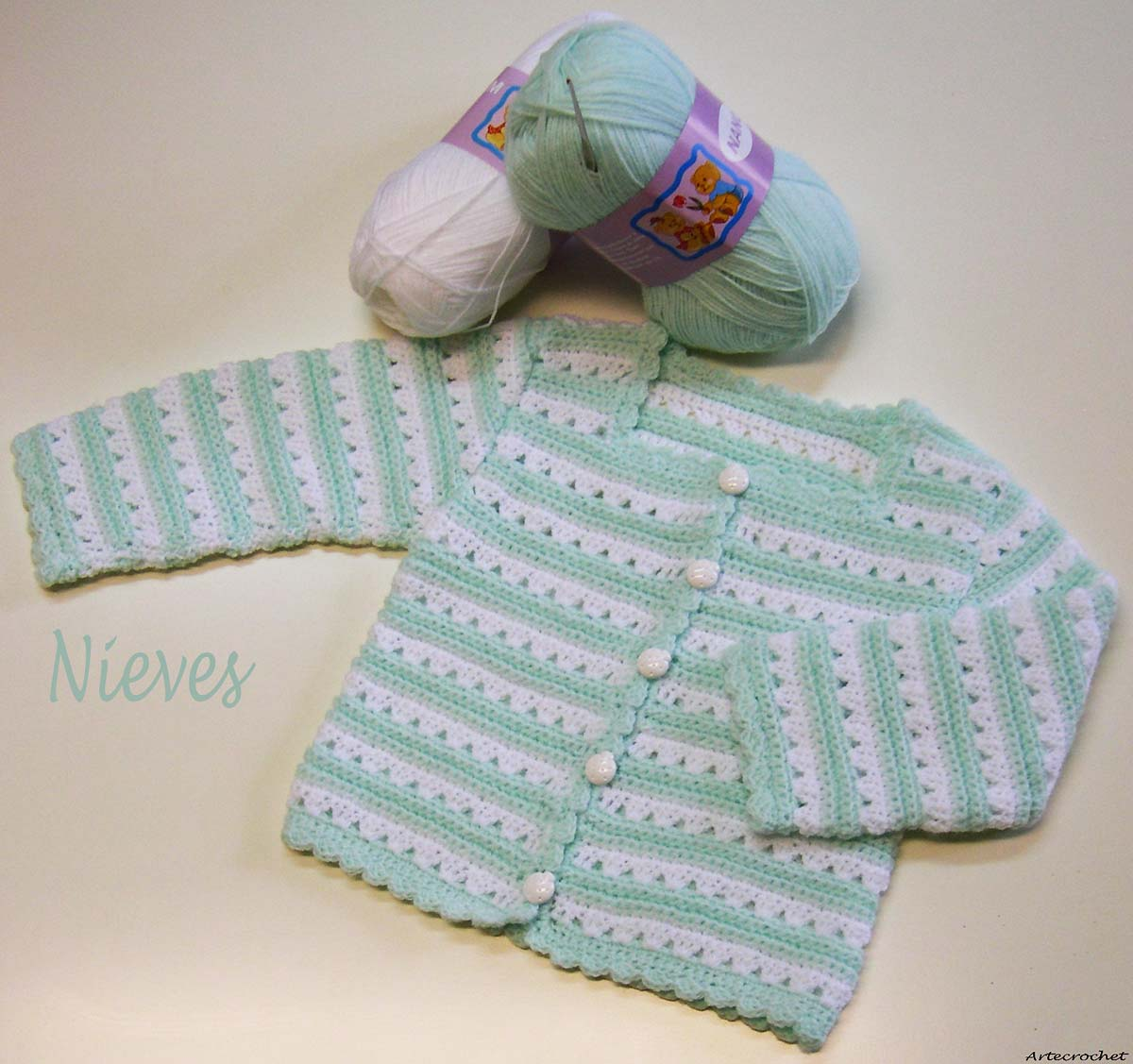 Artecrochet nieves chaqueta para beb de 3 a 6 meses - Tejer chaqueta bebe 6 meses ...