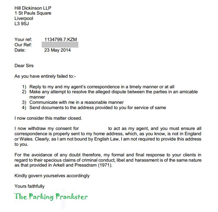 Parking Prankster The Prankster asks ParkingEye to cease and desist – Cease and Desist Sample Letter