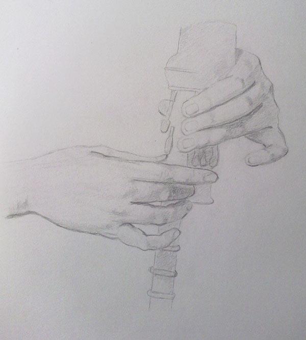 dibujo de manos de gaiteiro