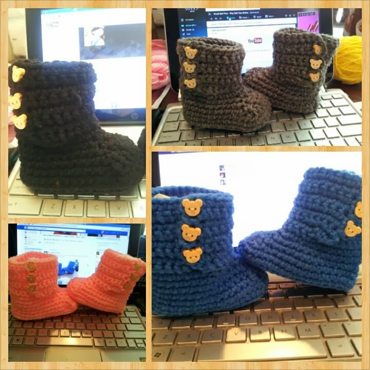 Crochet Baby Rain Boot Pattern Free : Havoc Mayhem Creations : Baby Ugg boots Pattern