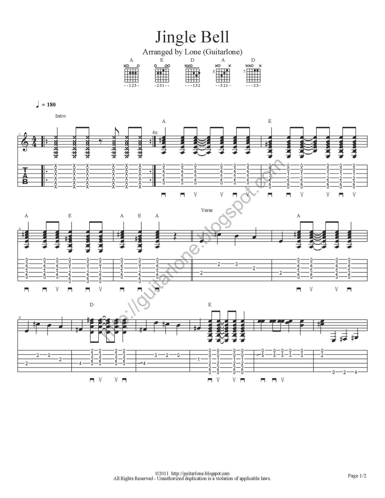 Jingle bells acoustic finger style instrumental with tabs