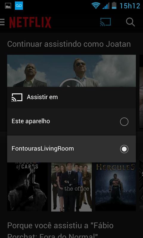 escolher dispositivo assistir google chromecast android