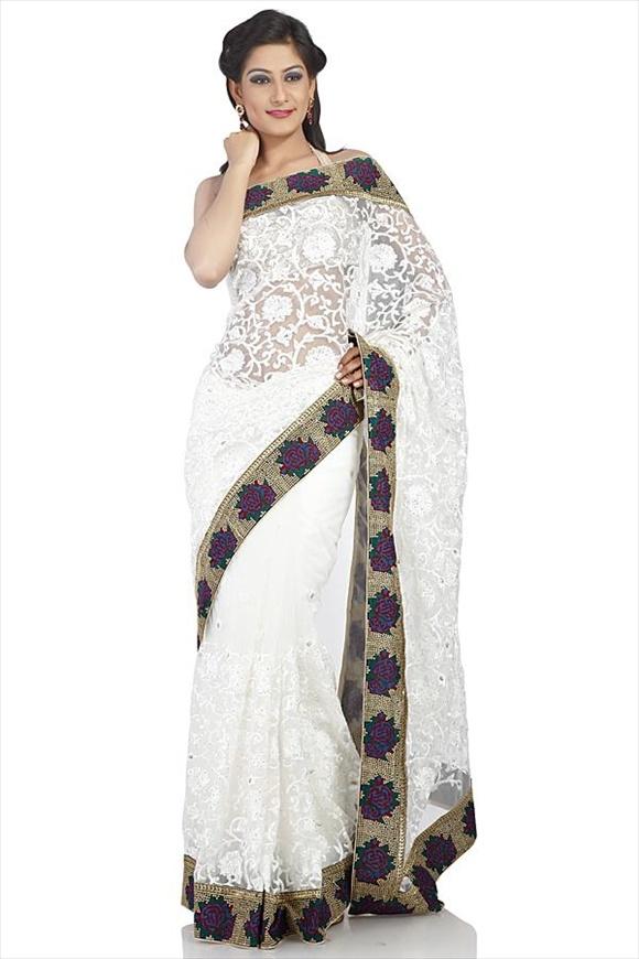 hot White Net Saree