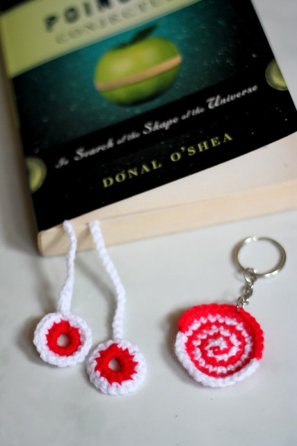 crochet bookmark and swirl keychain