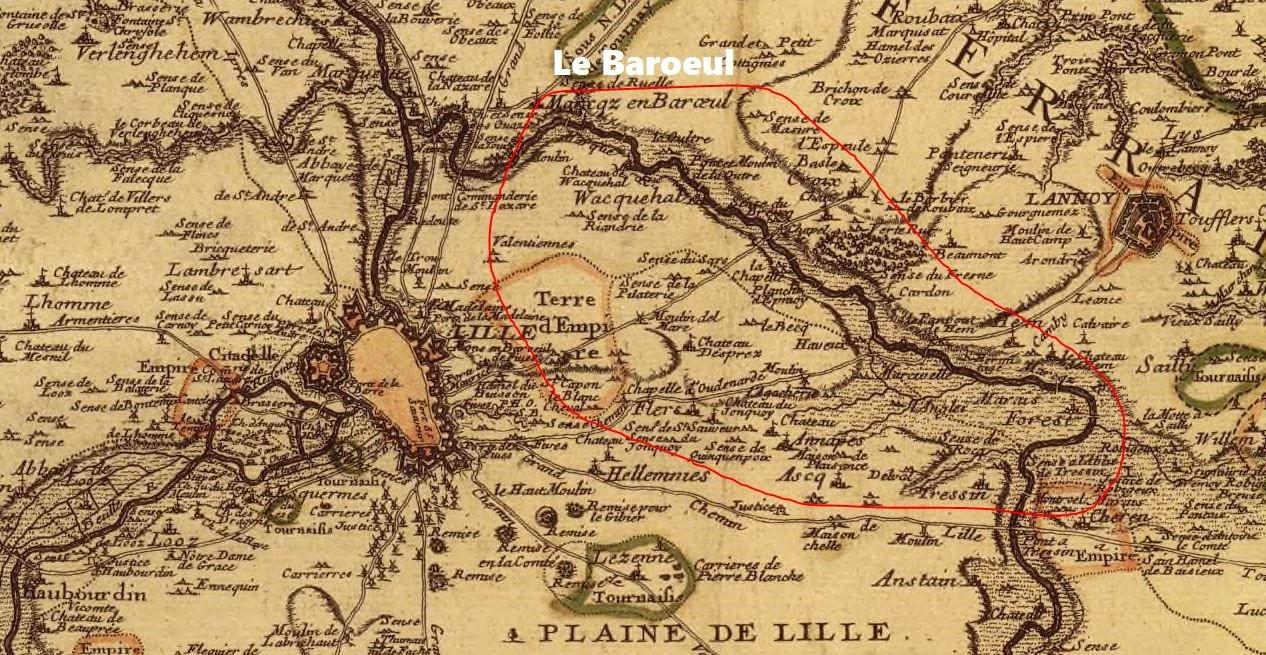 Territoire de la Forêt du Barœul, extrait du plan de La châtellenie de Lille, carte tracée en 1707