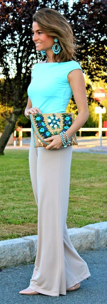 Flare High Wait Pant with Babe Blue top and Chic Clutch Purse | Spring Outfits