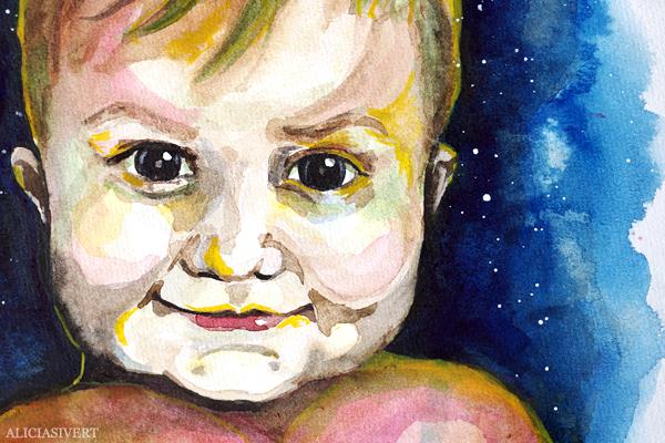 aliciasivert, alicia sivert, alicia sivertsson, porträtt, akvarell, aquarelle, vattenfärg, water colour, watercolor, watercolour, water color, tage, porträtt, portrait, painting, målning, barn, child