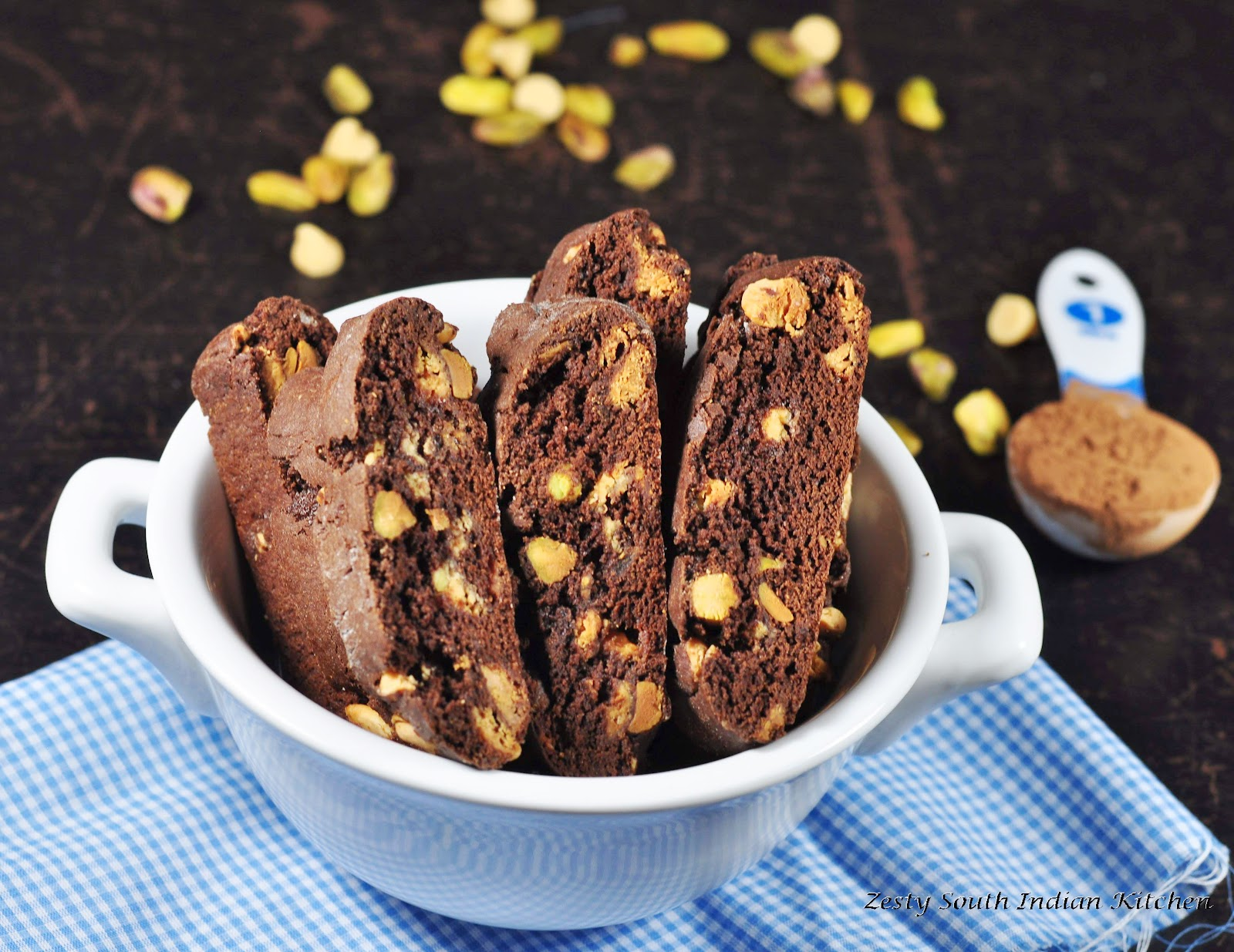 Double chocolate and pistachio biscotti for Baking Partners Challenge ...