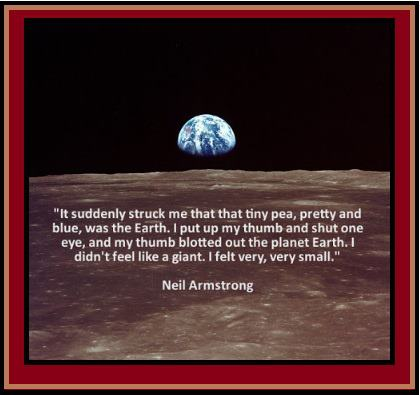 Quote of Neil Armstrong while on the moon that reads (see caption)