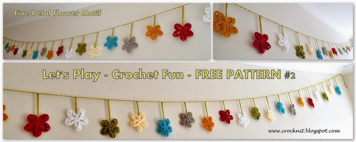spring garland, flower motif, crochet free pattern