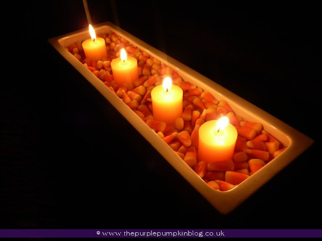 Candy Corn & Candle Display at The Purple Pumpkin Blog