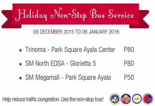 EDSA Express Buses - Holiday Non-Stop Bus Service Fare