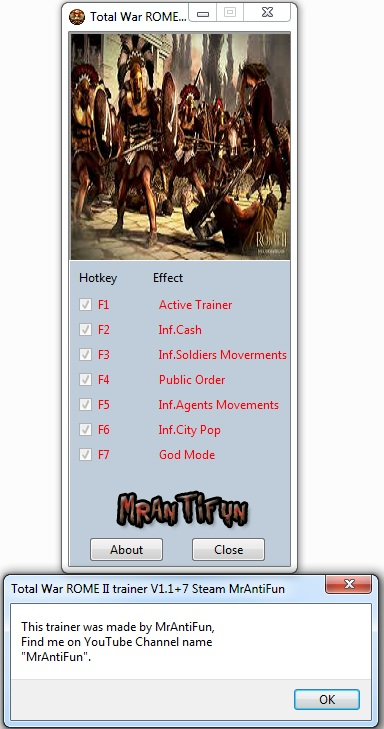 Total War ROME II trainer V1.1 + 7  STEAM RELEASE One turn technology and buildings MrAntiFun