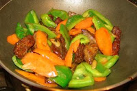 Chinese liver recipe stir fry liver with green pepper and carrot