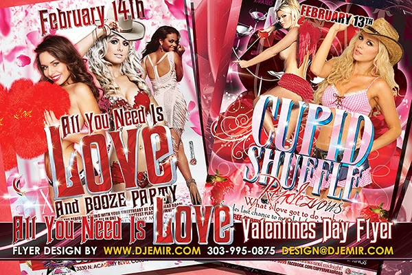 All You Need is Love Valentine's Day Cupid Shuffle Party Flyer