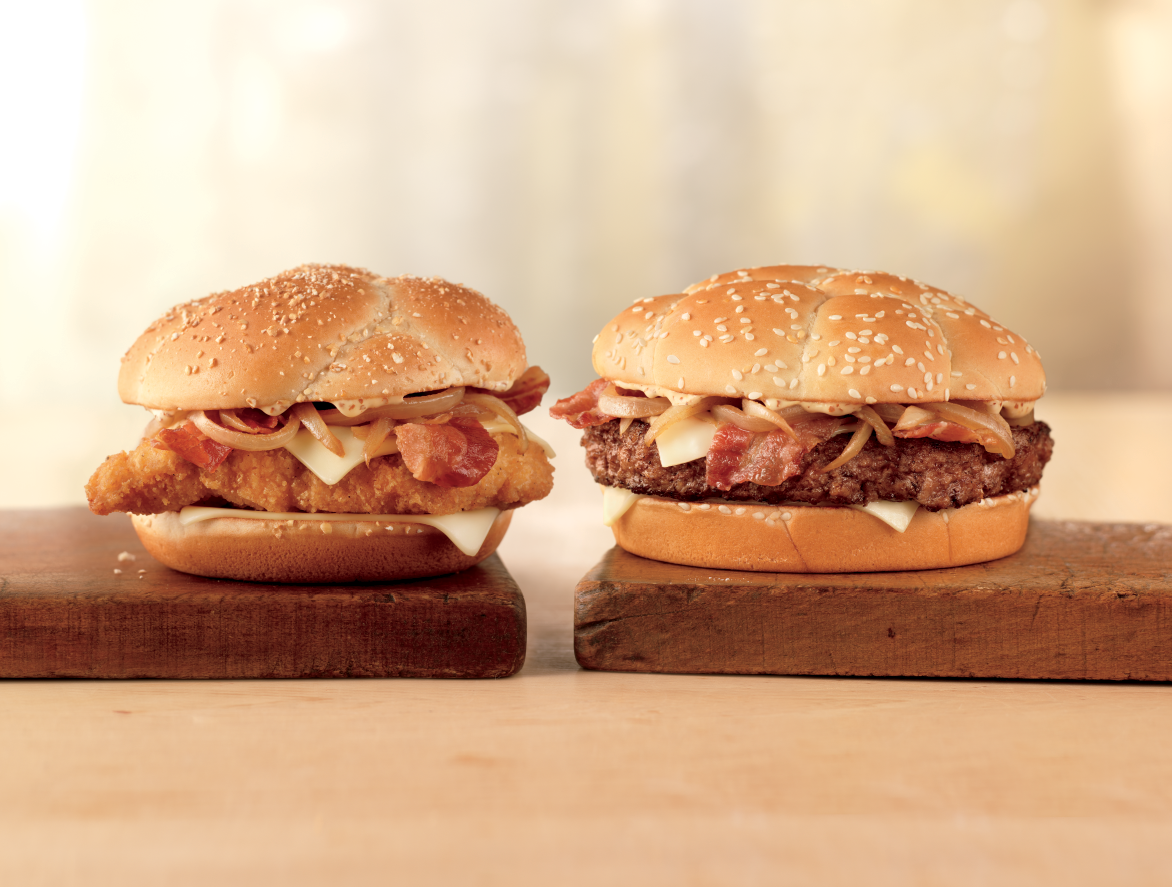 burgers, chicken, McDonald's, cheddar bacon onion