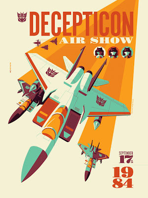 "Acidfree Gallery - ""Decepticon Air Show"" Transformers Variant Screen Print by Tom Whalen"
