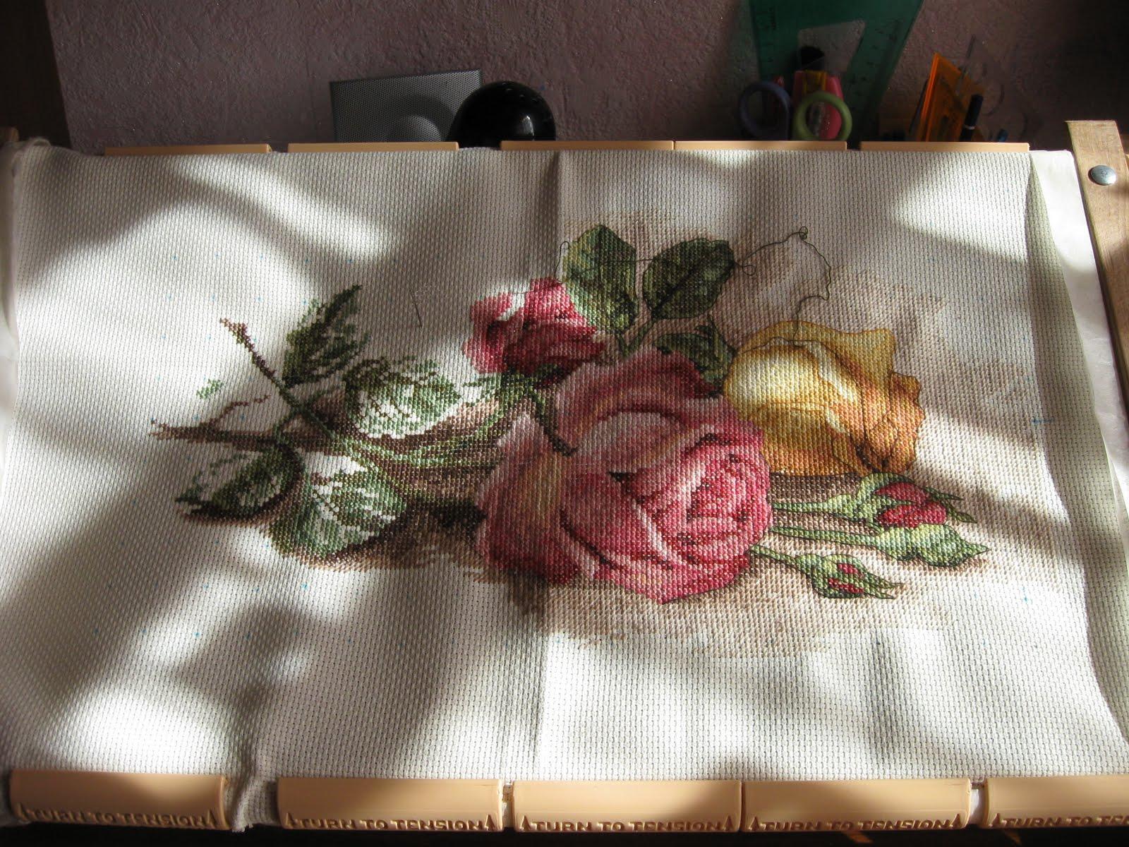 Вышивка срезанные розы дименшенс 28