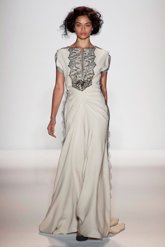 Lela Rose Cream and Black Lace Gown Fall 2013 Runway
