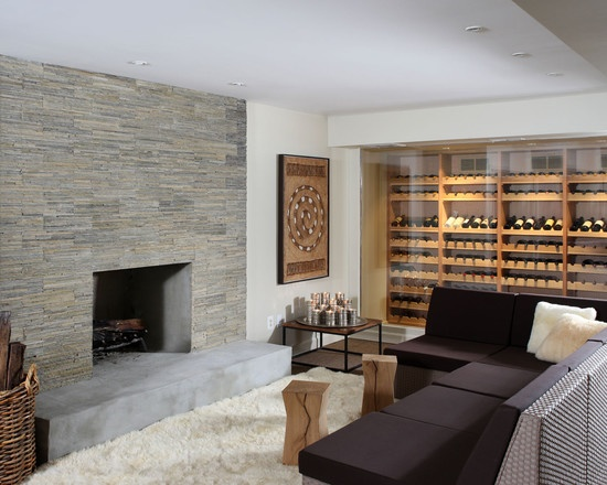 Salas con paredes de piedra ideas para decorar dise ar - Paredes modernas para interiores ...