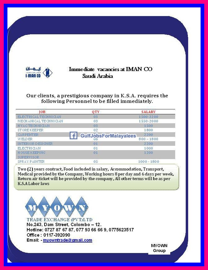 Immediate Vacancies In Iman Company Saudi Arabia Welder Qatar Newziland South Africa