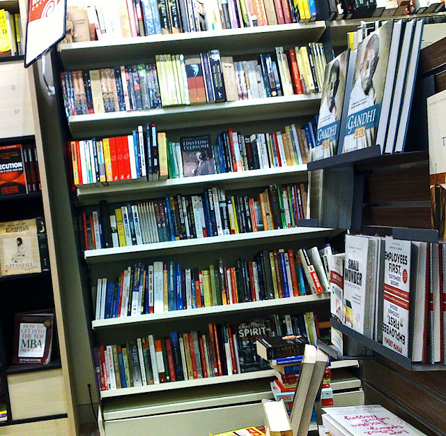 books on shelves at bookshop