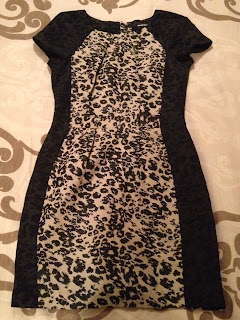 Black and beige animal print shift dress