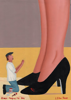 A shrunken man begging for forgiveness after spilling red paint on a woman's new black shoes