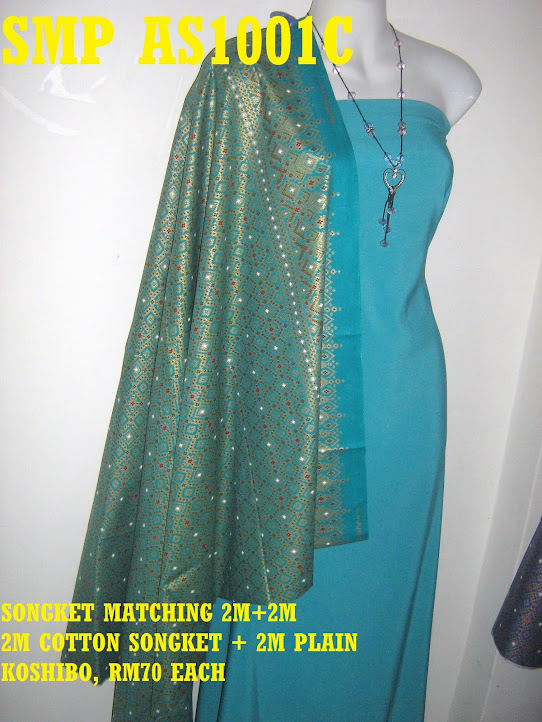 SMP AS0001C : SONGKET MATCHING, 2 M COTTON SONGKET+ 2 METER PLAIN KOSHIBO