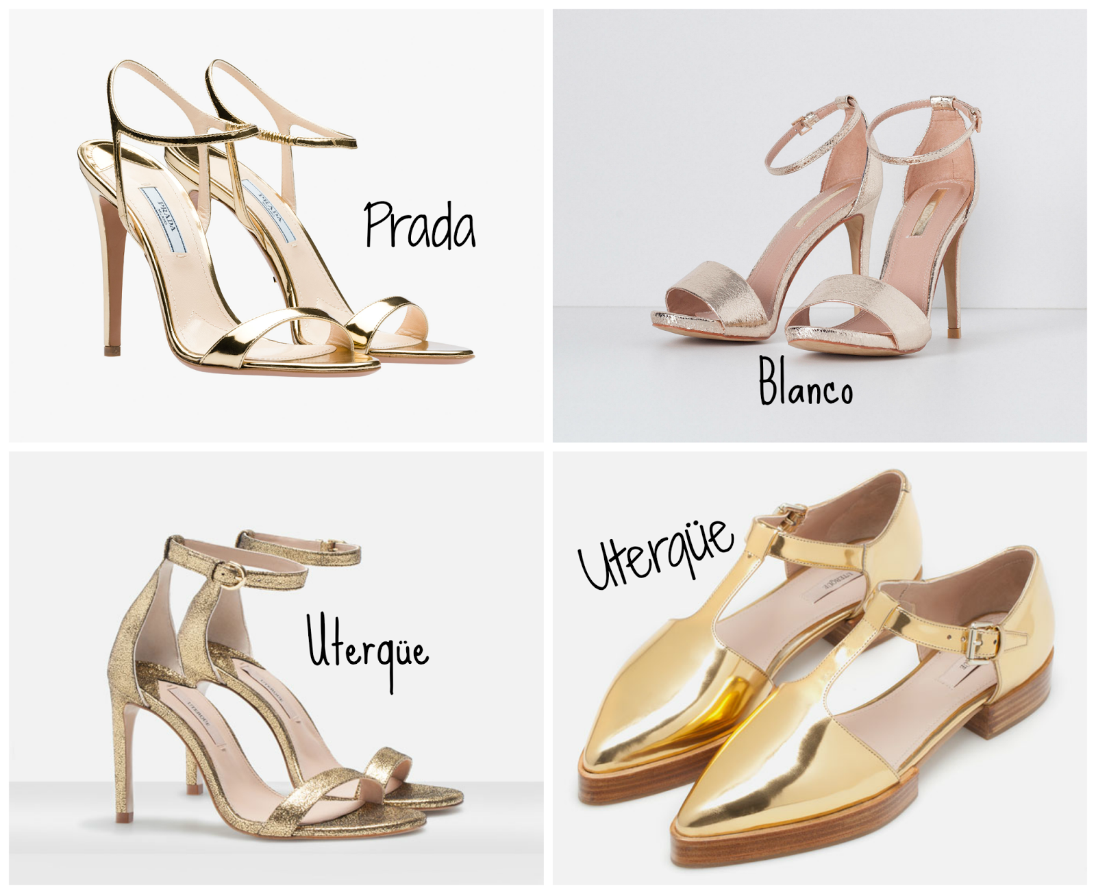 Esta selección de dorados incluye sandalias de Uterqüe que son las que  mejor relación calidad precio tienen, no superan los 100 euros y tienen un  tacón muy