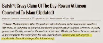 Berita Mr Bean Masuk Islam Ternyata Palsu alias HOAX !
