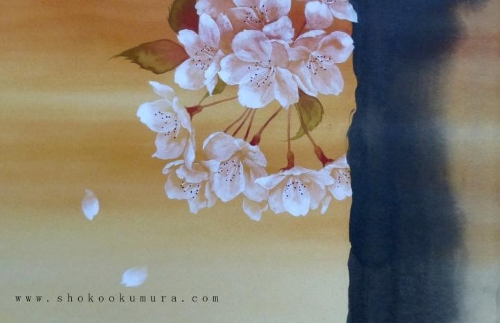 Pittura giapponese di shoko okumura hanami attraverso for Fiori di ciliegio dipinti