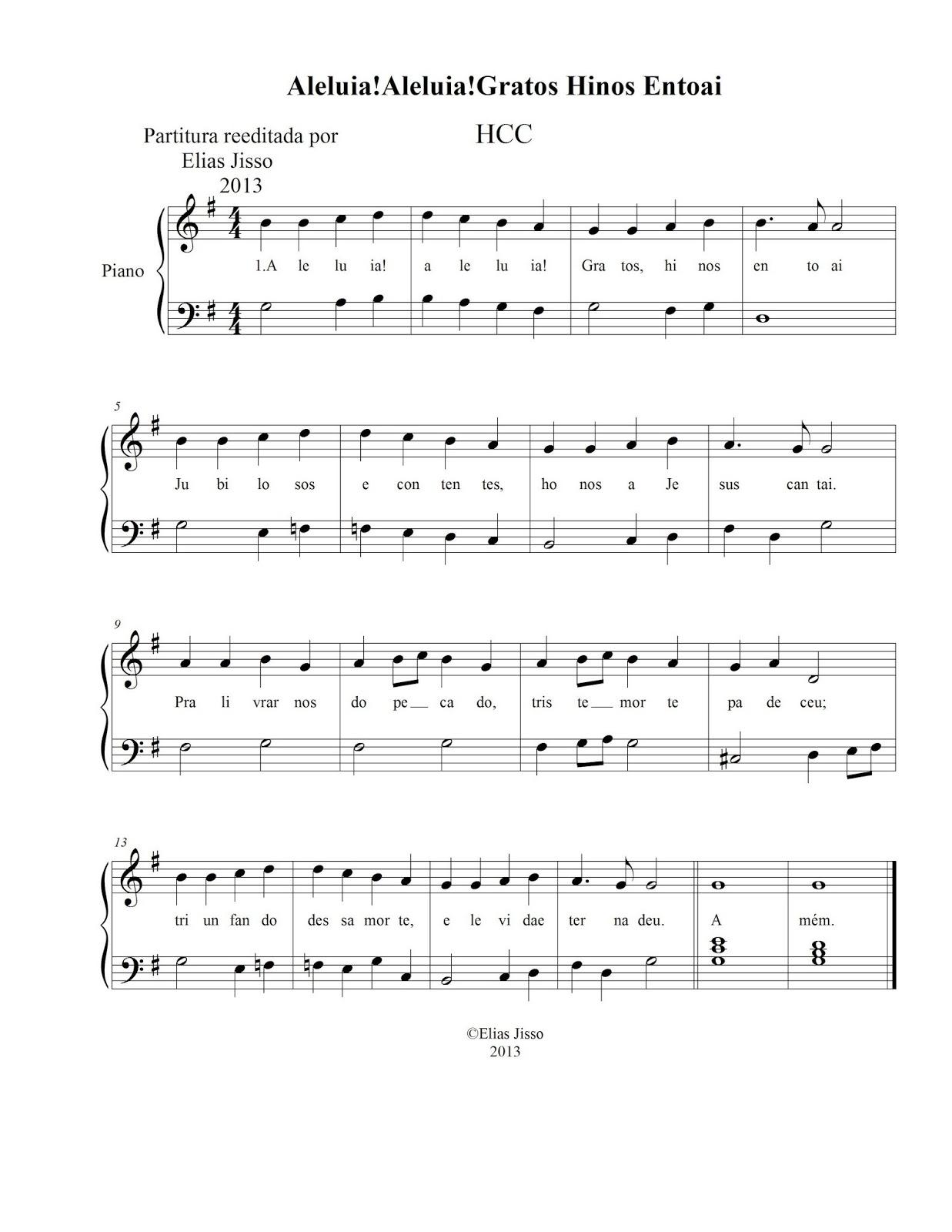 Excepcional Aleluia Gratos Hinos Entoai - HCC | Música / Materiais de Música HU73