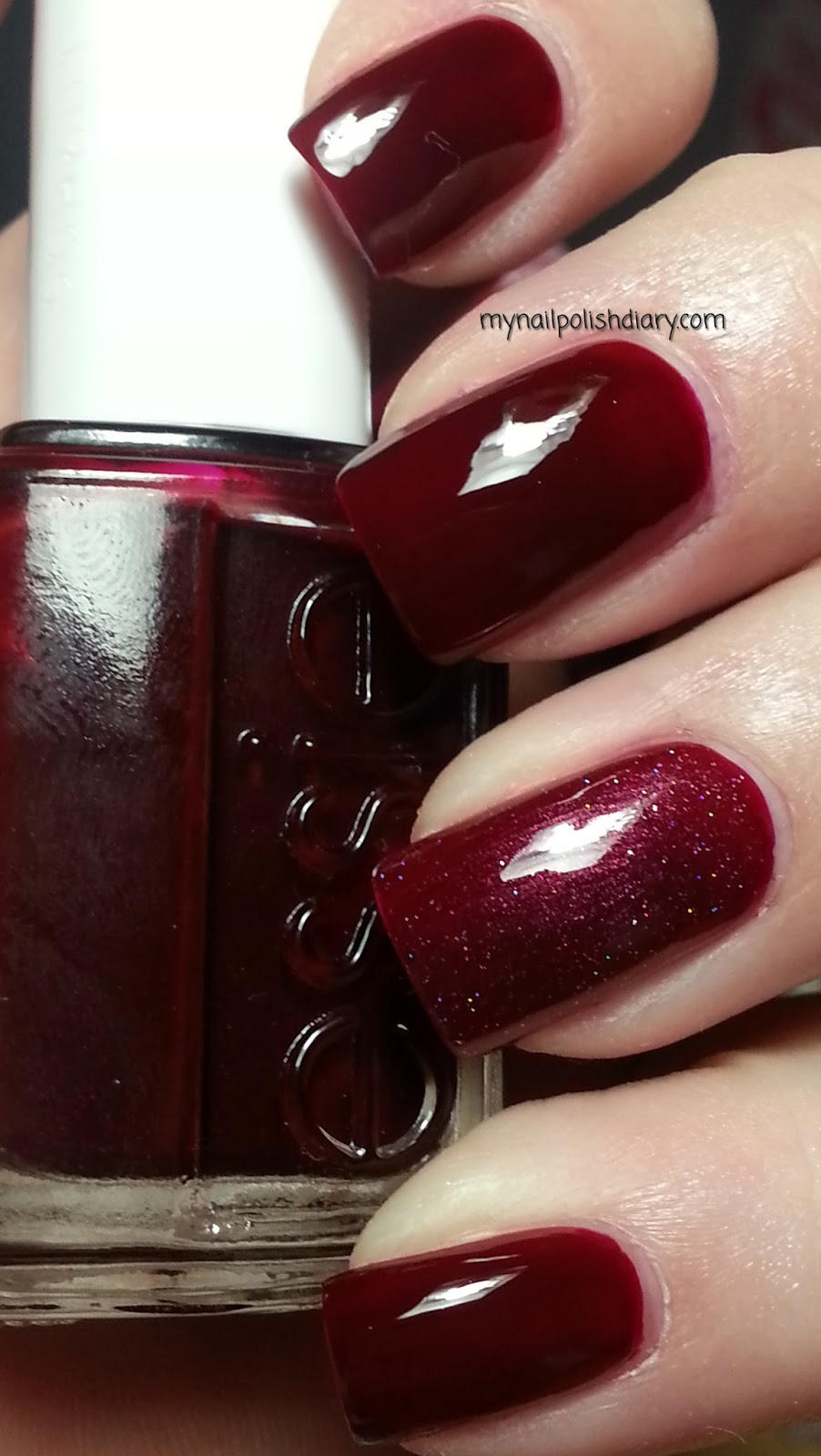 My Nail Polish Diary: Essie Bordeaux with China Glaze Crystal Ball