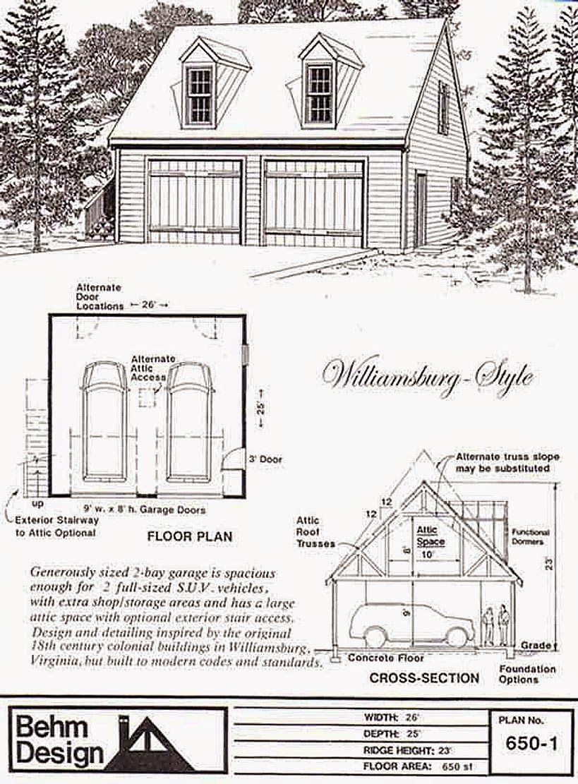 Garage Plan 650-1 Colonial 2 Car With Attic Truss Loft Dormers and 10 ft Walls - 26 x 25  sc 1 st  Behm Design - Garage Plan Ex&les & Garage Plans Blog - Behm Design - Garage Plan Examples: August 2014