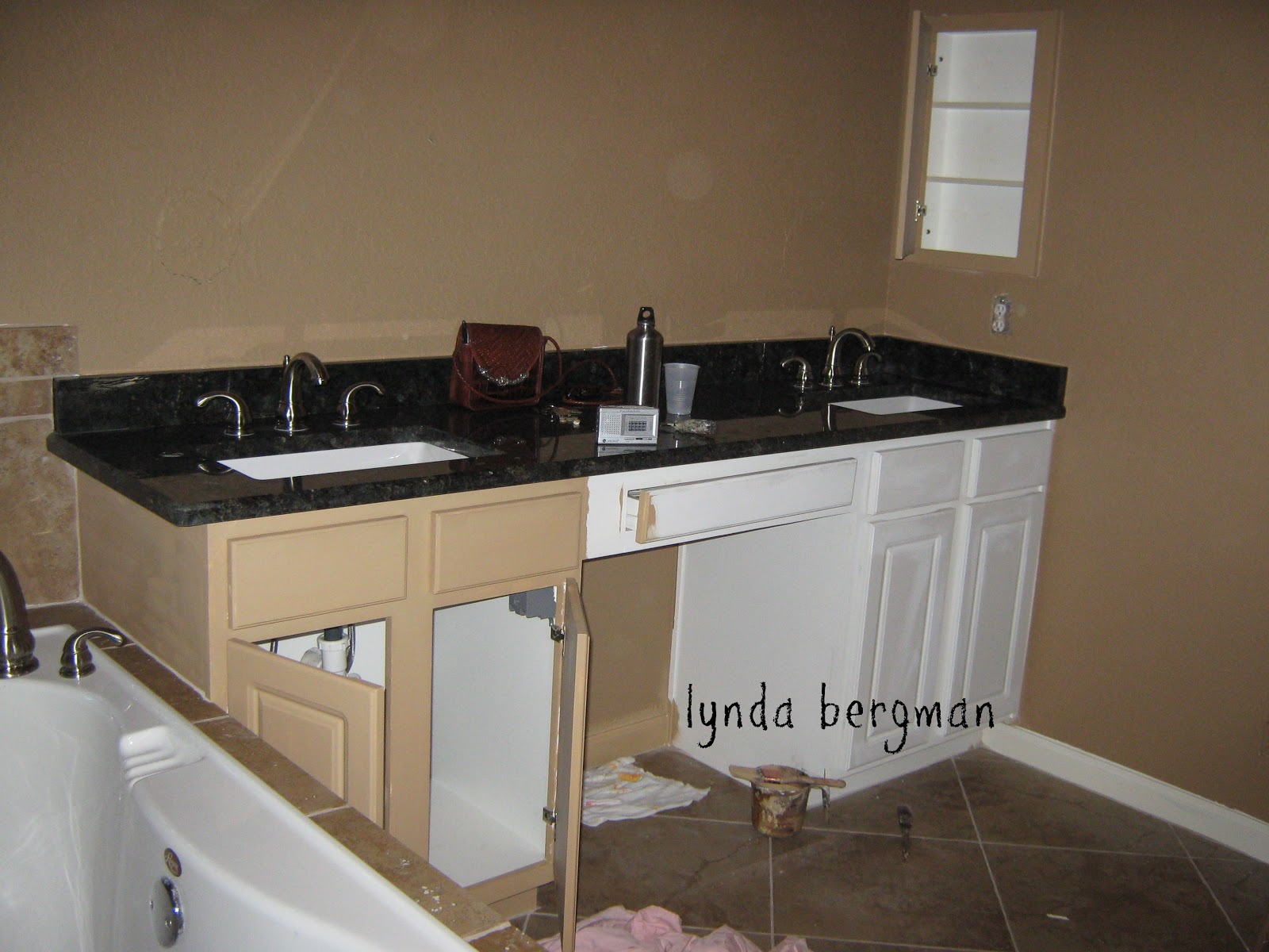 How To Repaint Bathroom Cabinets White lynda bergman decorative artisan: painting white bathroom cabinets