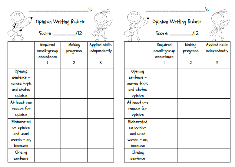 Supported opinion essay rubric