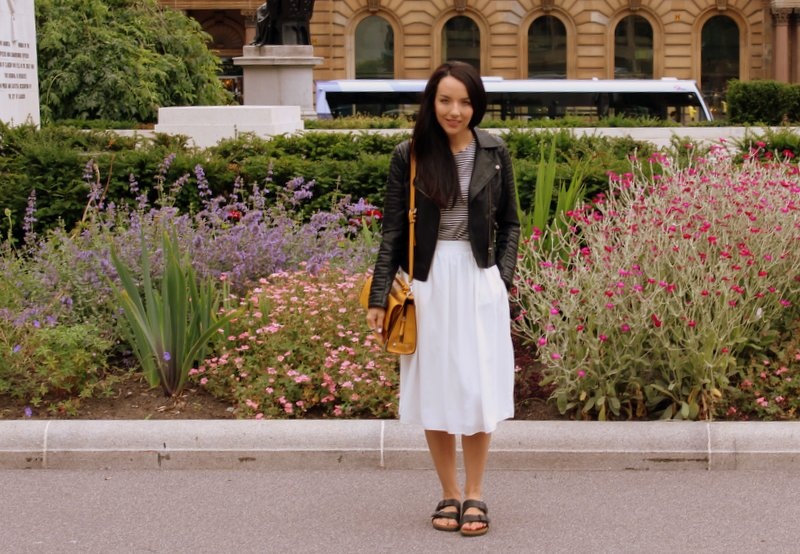 How to style white midi skirt
