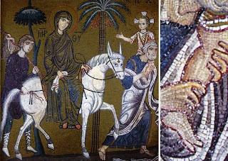 mosaïques - fuite en Egypte- Joseph - Jésus - Sainte Famille