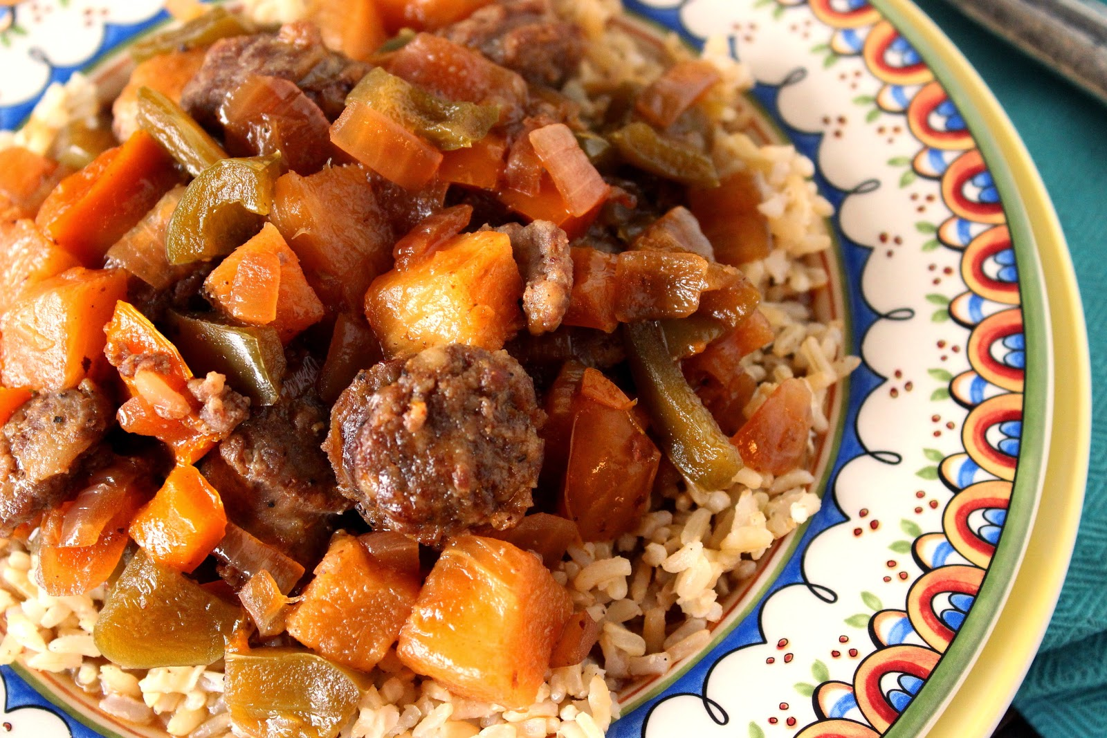 Sweet and Sour Sausage Recipe via Kudos Kitchen By Renee