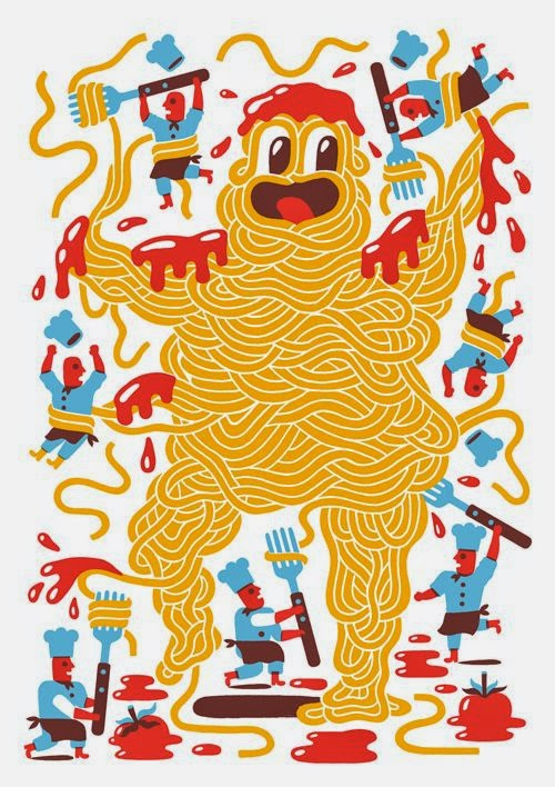 illustration by Till Hafenbrak of a noodles monster