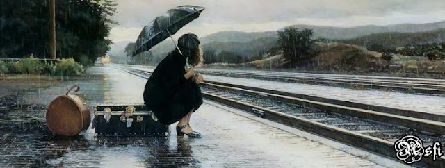 Girl With Umbrella in rain Cover Photo for facebook