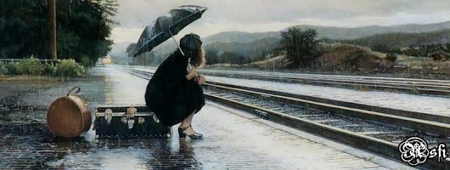 Girl With Umbrella in rain Cover Photo for facebook