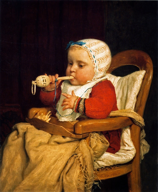 the little musician, albert anker, baby painting