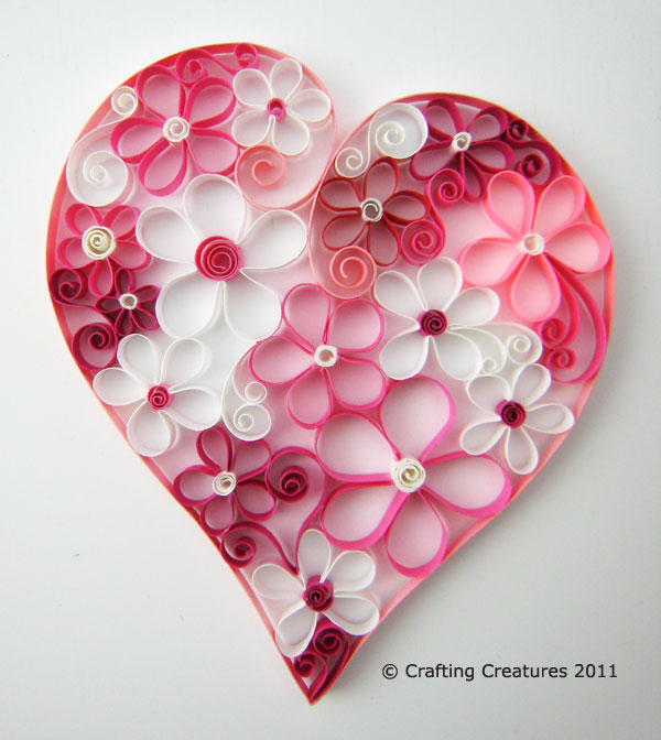 Paper zen quilled heart full o flowers for Quilling heart designs
