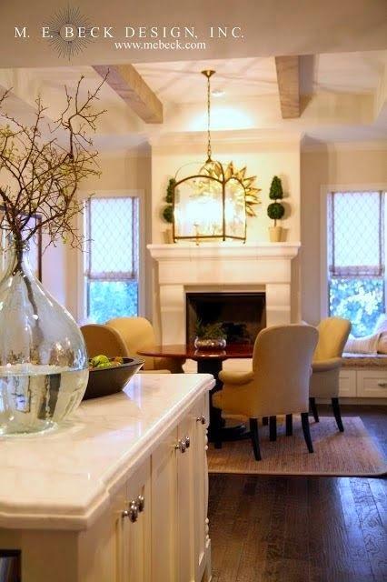 traditional elegant calming open floor plan neutral living room kitchen