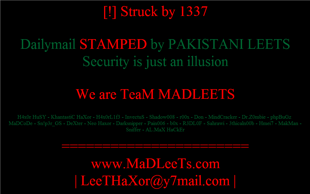 Daily Mail got Hacked By Leet, Daily Mail got Hacked, hacked by 1337, hacked by Leet, hacked by madleets, hacking high profiled sites, information security experts, ethical hacker, cyber security expert